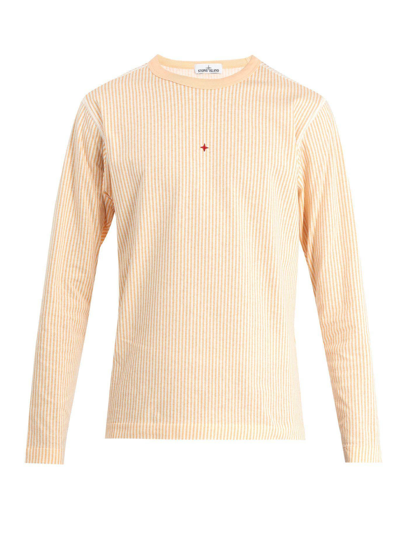 d556bfff7507 Stone Island Marina striped logo-print cotton top   T-shirts   Mens ...