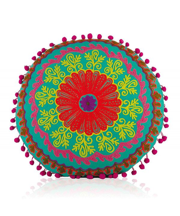Look at this Sea Green Botanical Round Cushion on #zulily today!