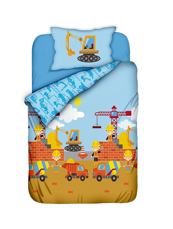 Kinderbettwäsche Jungen-Kinder-Bettwäsche Baustelle 100x135 ...
