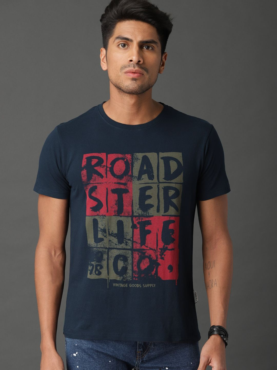 ea407a71 Buy Roadster Men Navy Blue Printed Round Neck T Shirt - Tshirts for Men  8240507 | Myntra