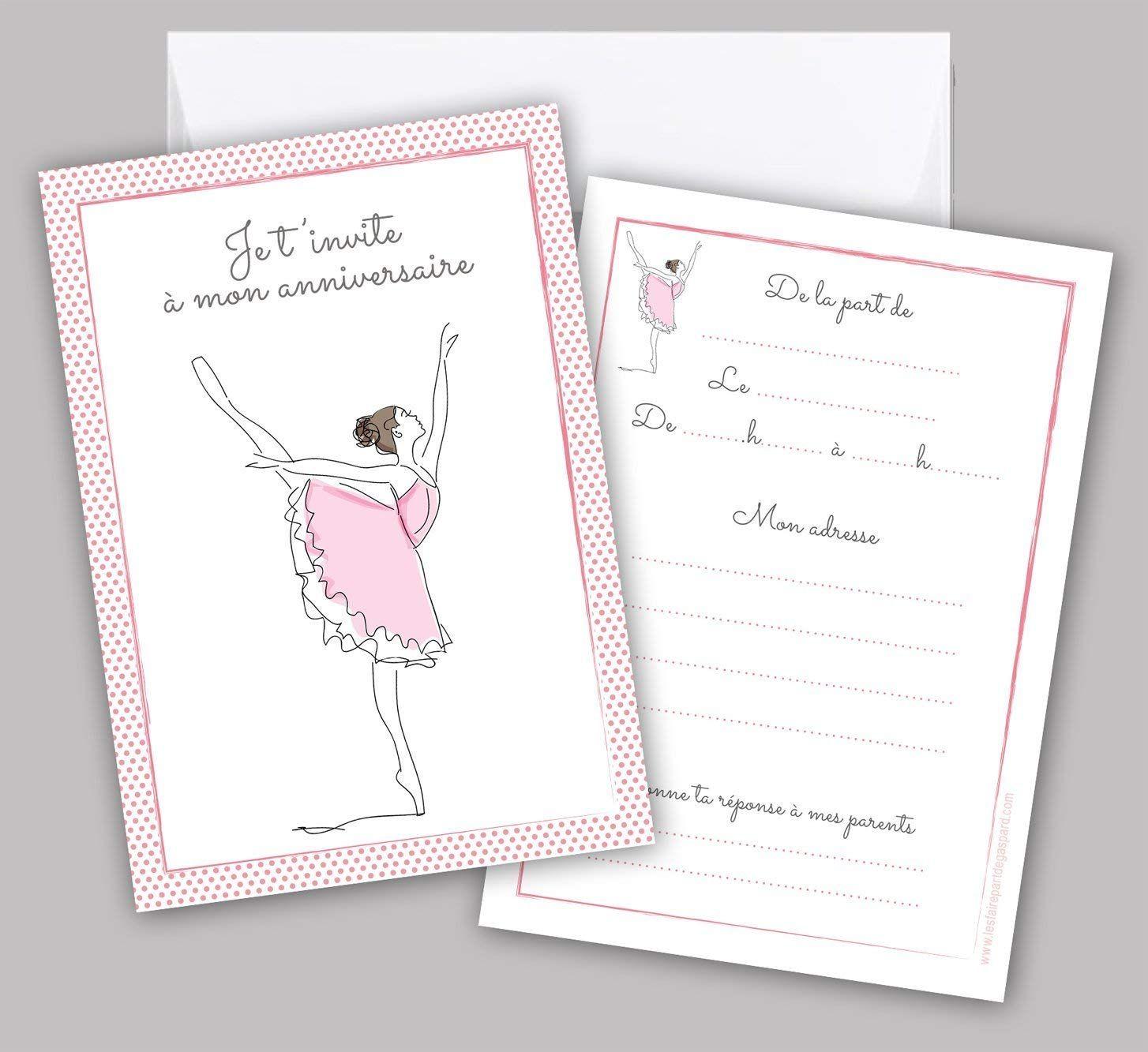 Lot de 5 cartes d'invitation anniversaire Danseuse classique: Amazon.fr: F… | Invitation ...