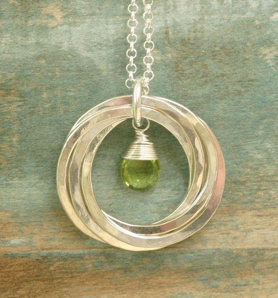 50th birthday gift, August birthstone necklace, gift for mother, peridot necklace, mothers necklace - Lilia