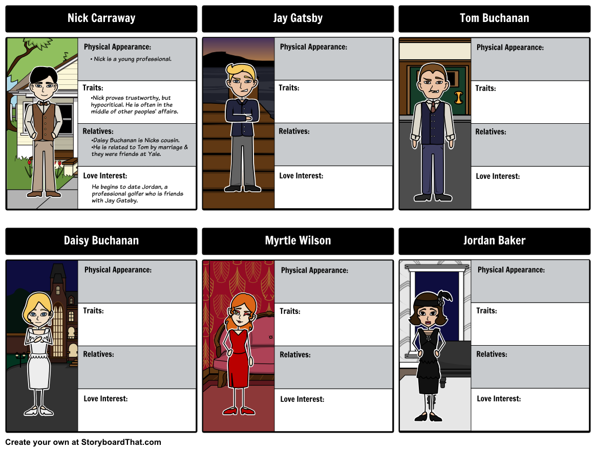 follow each character from the great gatsby our character map engaging student activities for the great gatsby include the great gatsby theme the great gatsby characters literary conflict and jay gatsby as an