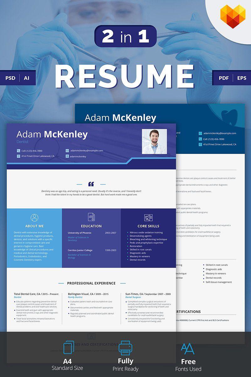 Adam mckenley dentist resume template in 2020 dentist
