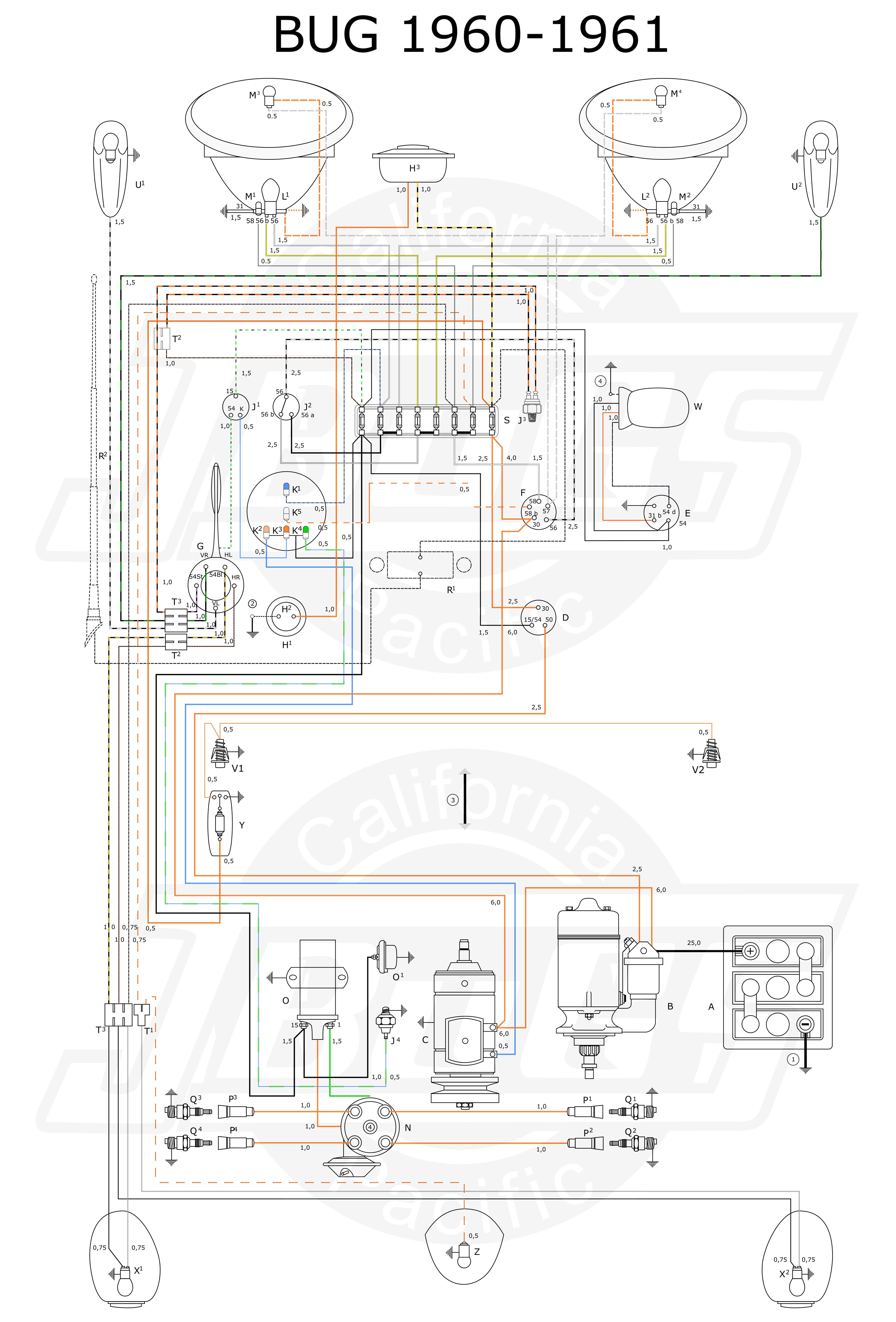 Vw Tech Article 1960 61 Wiring Diagram Vw Beetle Classic Vw Bug Diagram