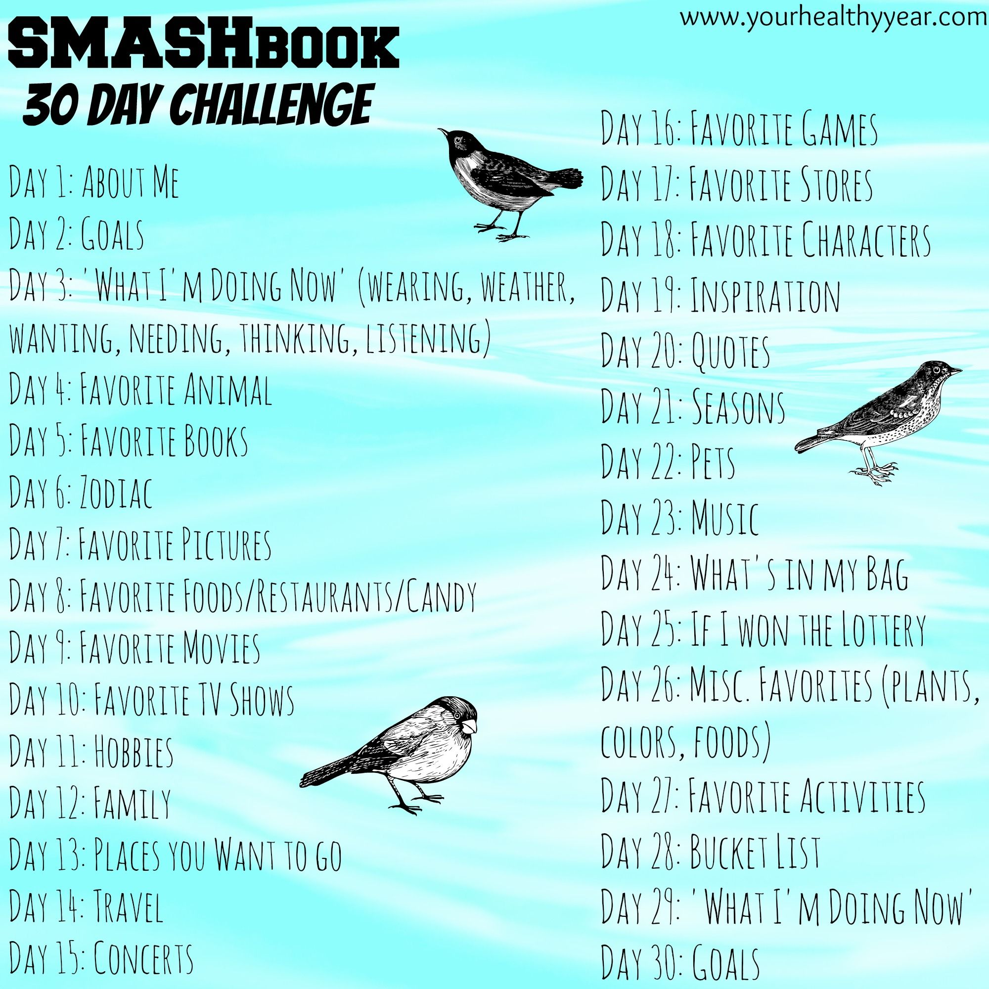 Art Ideas Ourselves Topic: Smash Book Challenge, 30 Topics In 30 Days. Are You Up To