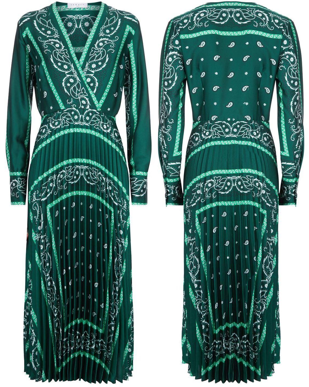 Sandro Paris Green Scarf Print Midi Dress Dresses Green Midi Dress Scarf Dress [ 1408 x 1124 Pixel ]