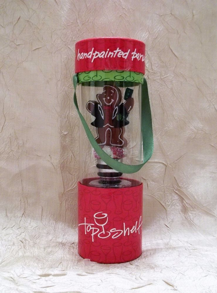 Gingerbread Man Hand-Painted Wine Stopper For Christmas Top Shelf