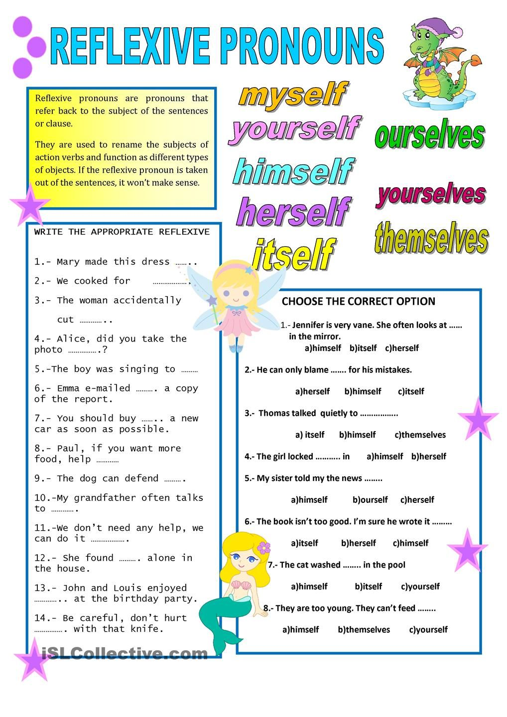 worksheet Reflexive Pronoun Worksheets 1000 images about english pronouns on pinterest grammar test lessons and common cores