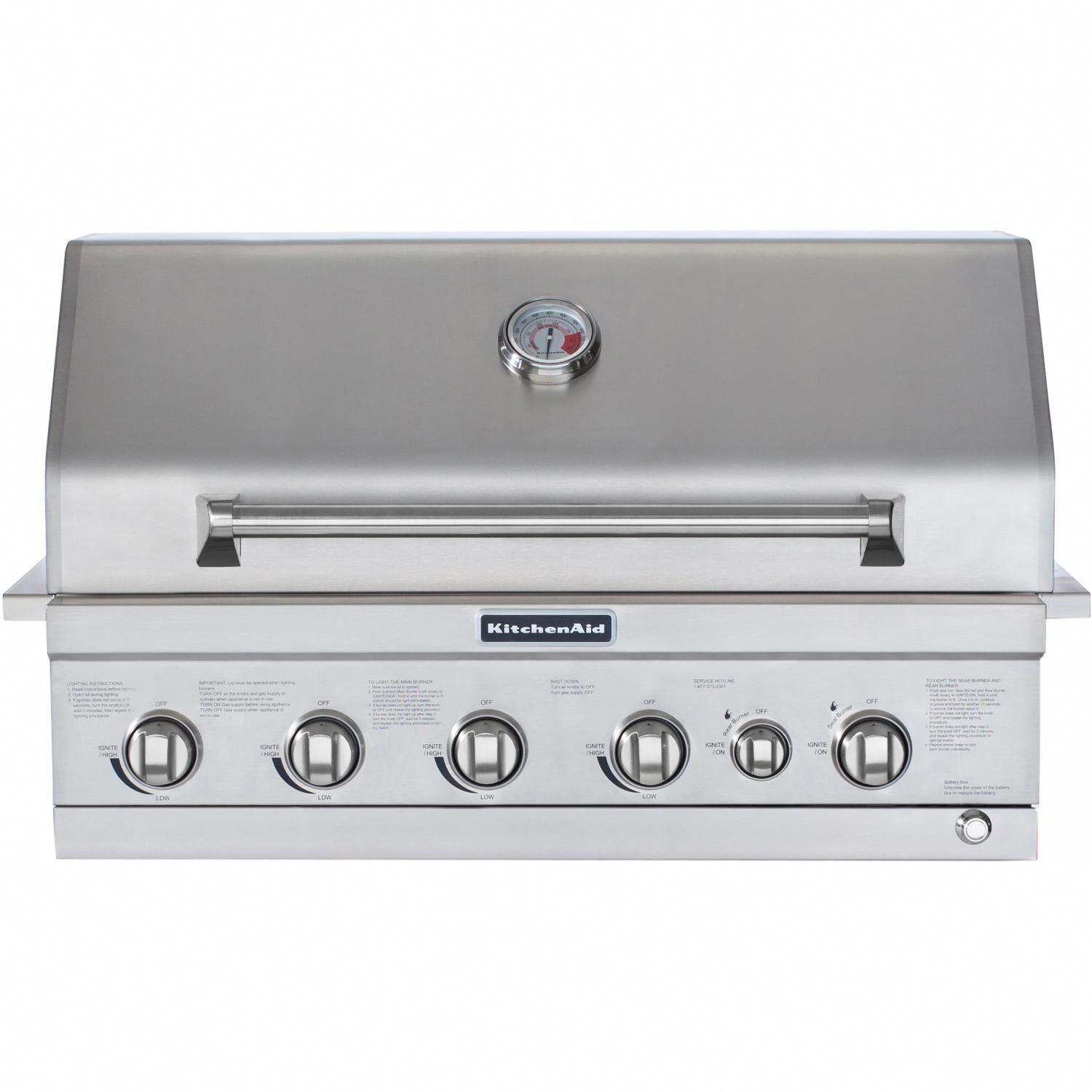 Kitchenaid 36inch builtin propane gas grill with searing