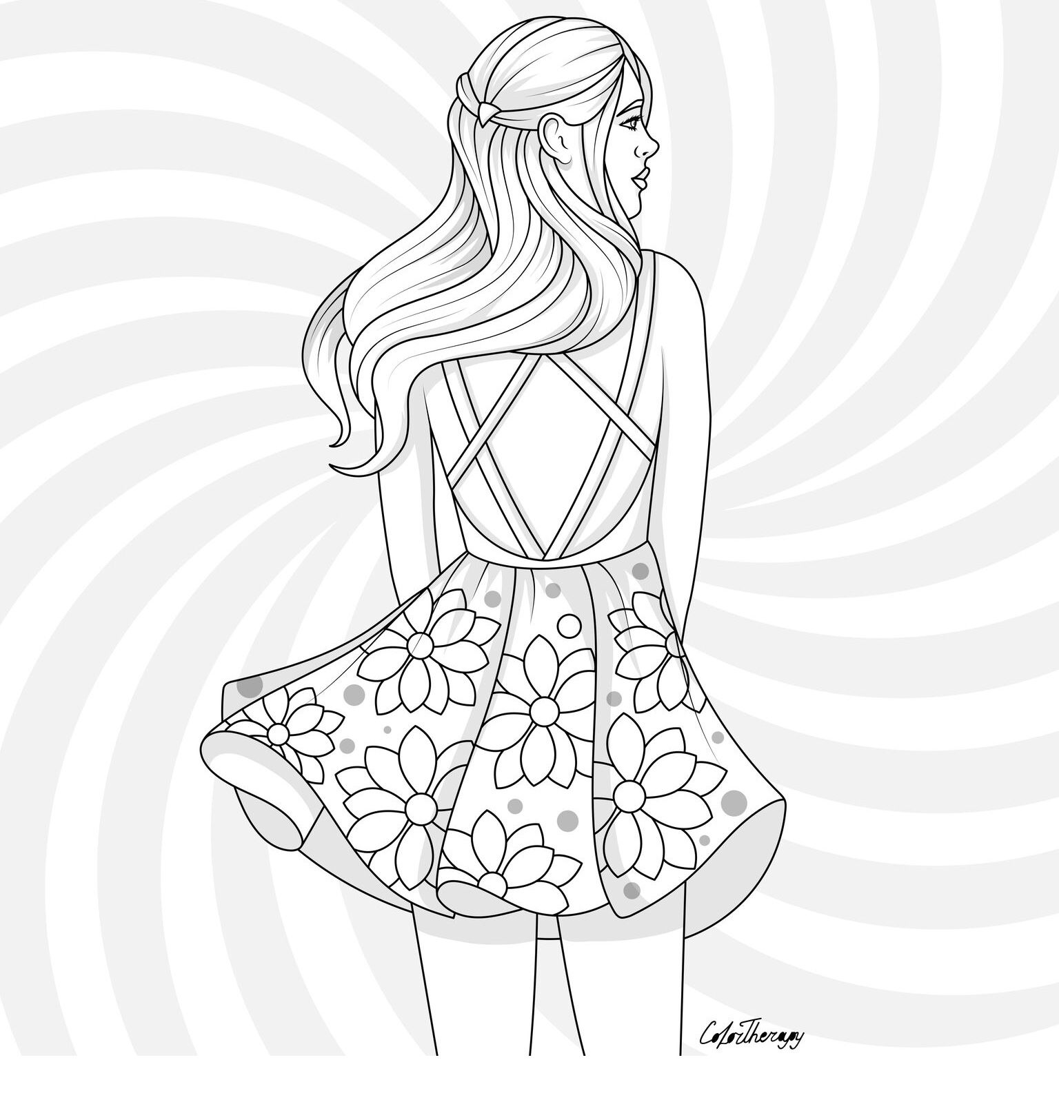 The Sneak Peek For The Next Gift Of The Day Tomorrow Do You Like This One Girl Summery Floral People Coloring Pages Coloring Book Art Coloring Pages [ 1599 x 1536 Pixel ]