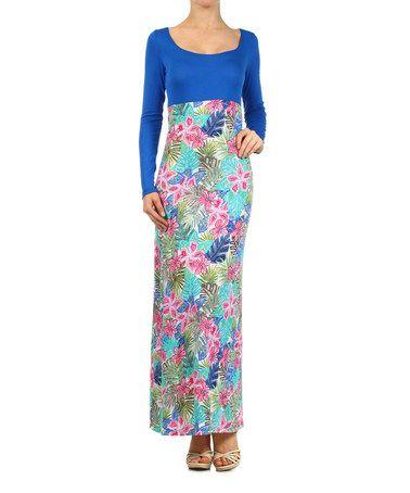 Look at this #zulilyfind! Blue & Pink Floral Long-Sleeve Maxi Dress by J-MODE #zulilyfinds