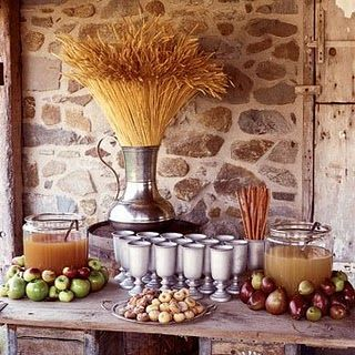 Love the wheat arrangements.....And the cider bar