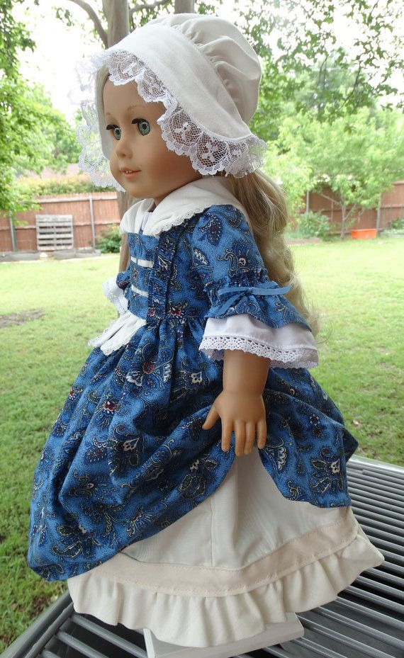 18 Doll Clothes Colonial Style Dress, Fichu and Cap Fits American Girl Felicity, Elizabeth, Caroline