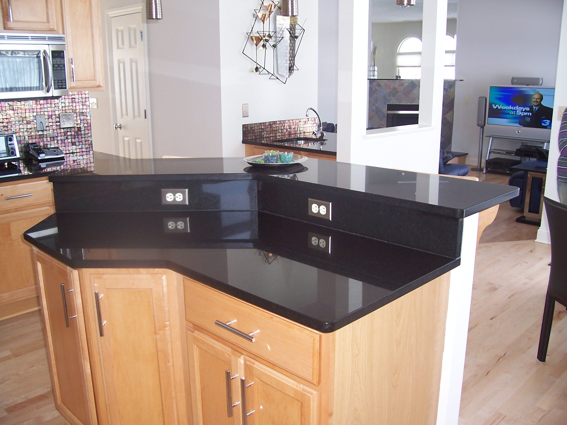 Absolute Black Island With Raised Bar Top And Riser