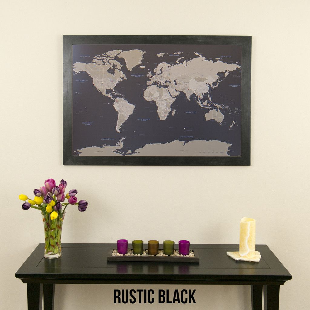 4f7829d10804 Earth Toned World Travel Map in Rustic Black Frame - World push pin map to  track your travels. An elegant choice for your home