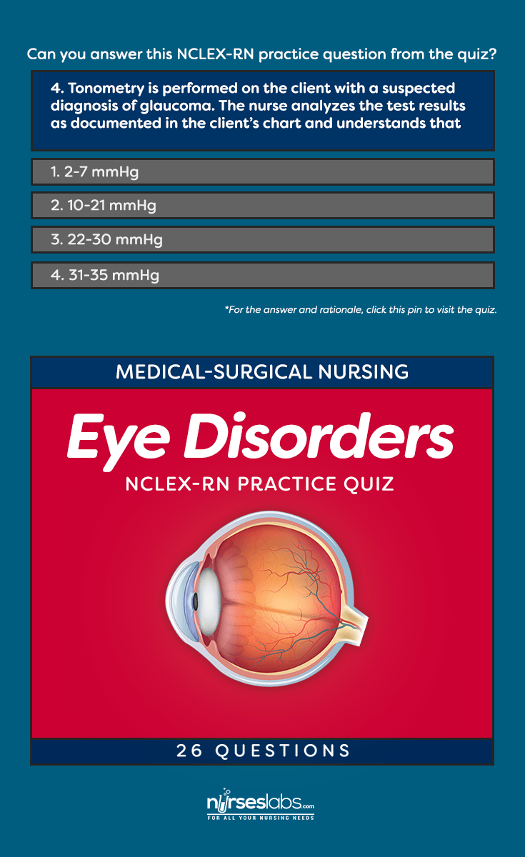 Eye Disorders Nursing Care NCLEX-RN Practice Quiz (26 Questions) Nursing  Exam,
