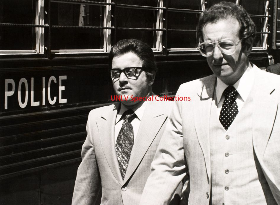 Anthony Spilotro with his attorney, Oscar Goodman (right) April 1, 1980 (Collection # 0277, Photo # 0652).