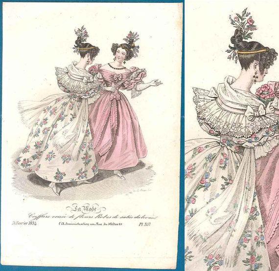 Romantic Era Antique Fashion Print 1834 La Mode Pretty