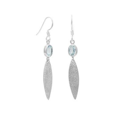 Blue Topaz Earrings with Oxidized Textured Drops
