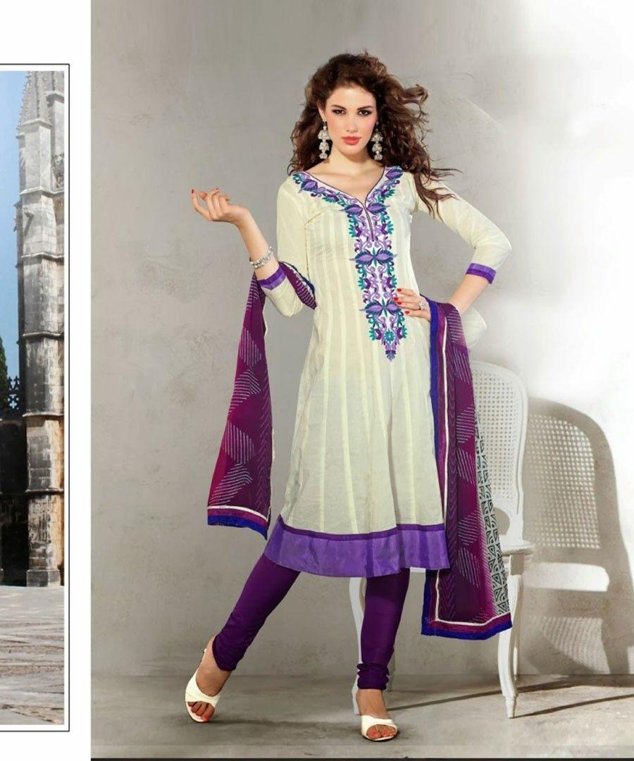 WHITE PURPLE EMBROIDERED ANARKALI SUIT | Style India Anarkali ...