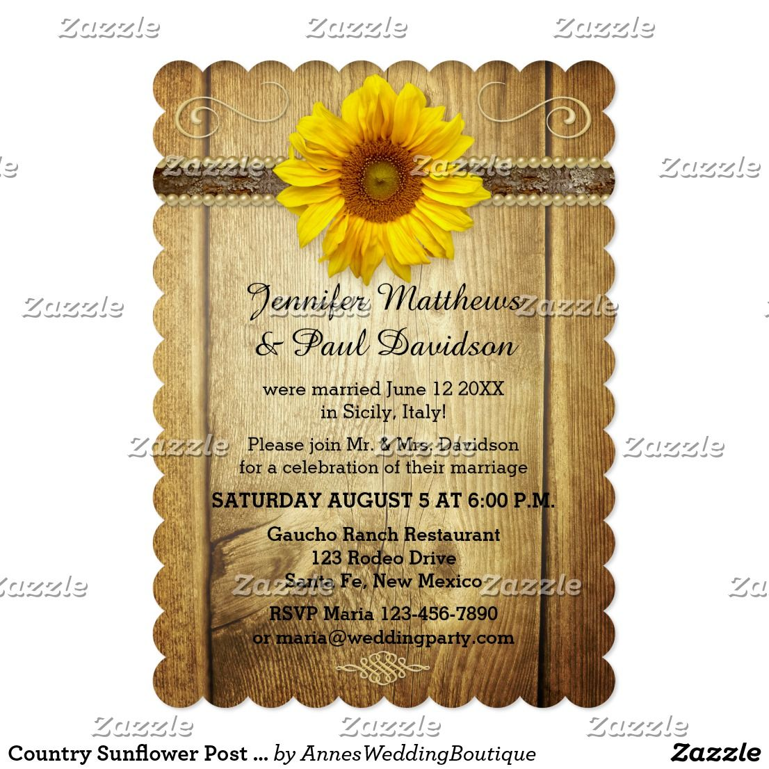 Country Sunflower Post Wedding Party Invitation | Country wedding ...