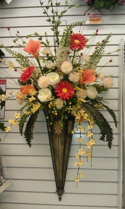 Wall Cone Summer Flower Arrangements Flower Arrangements Silk Flower Arrangements