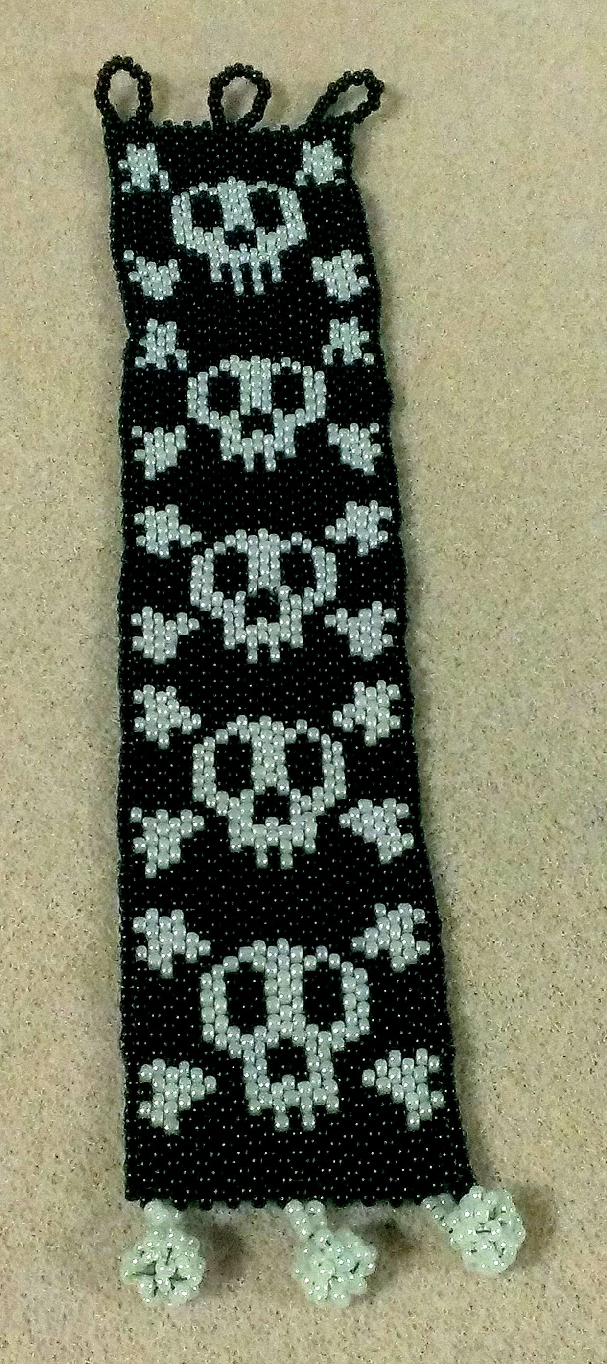 skull beaded cuff bracelet-peyote stitch
