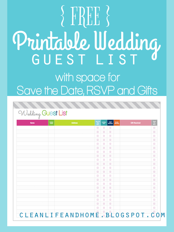 FREE Printable Wedding Guest List and Checklist by Clean Life and ...