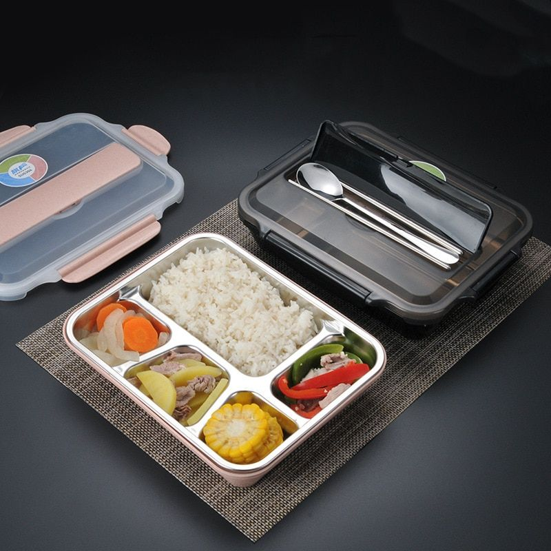 Stainless Steel Lunch Bags Round Lunch Box Food Bento Container Kid with Lid