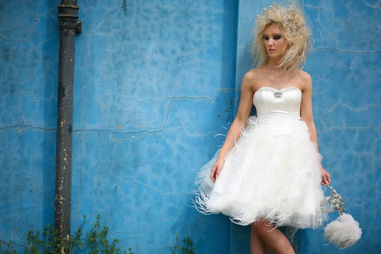 Short Wedding Gowns With Feathers Short Ostrich Feather Wedding