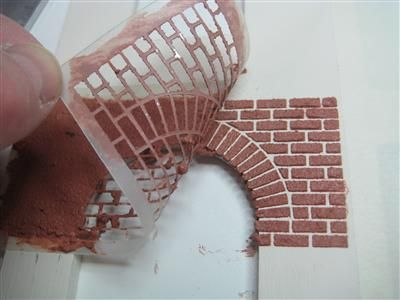 Applying Bricks to Dolls House Front #dollhouse