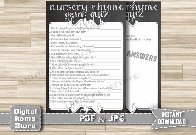 Chalkboard Baby Shower Nursery Rhyme Quiz - Baby Shower Printable Nursery Rhyme - Nursery Rhyme Game Chalkboard - Instant Download - ch1 by DigitalitemsShop on Etsy