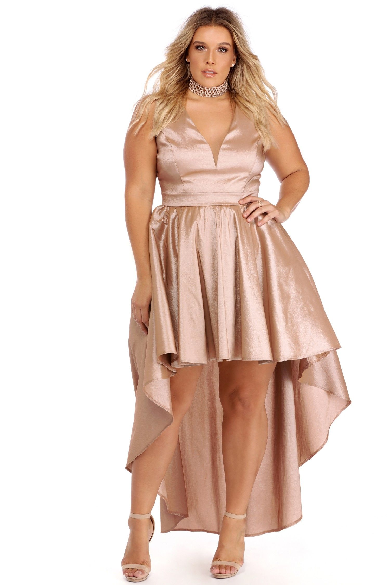 CLEARANCE Plus Lizzie Taupe Classic Twist Formal Dress