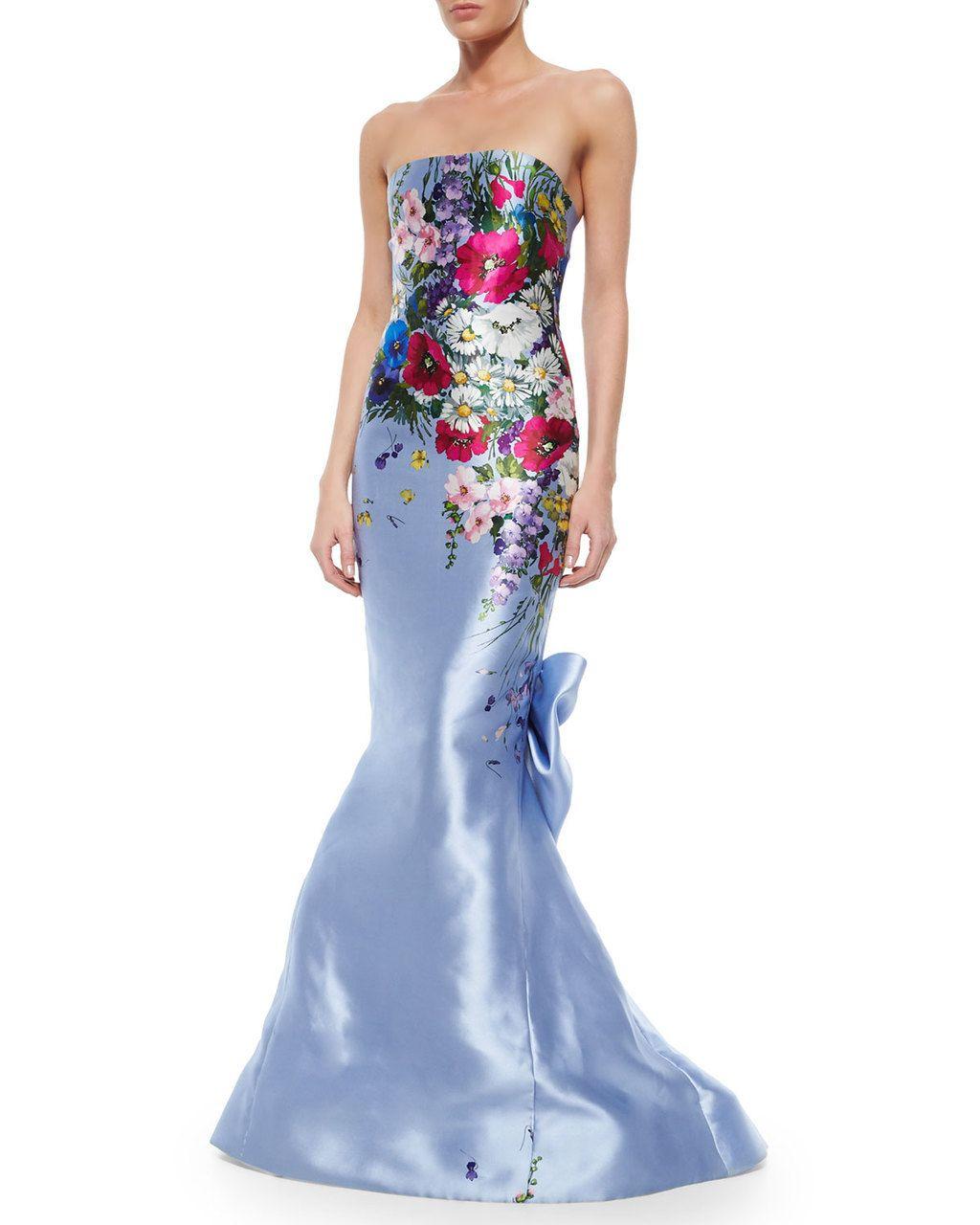 OSCAR DE LA RENTA Strapless Floral Printed Taffeta Gown Periwinkle $6,850