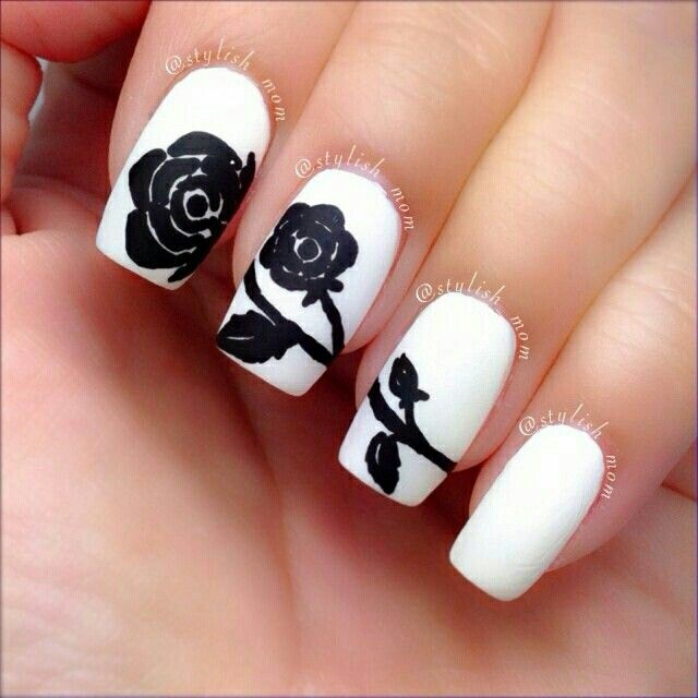 White And Black Rose Nail Art