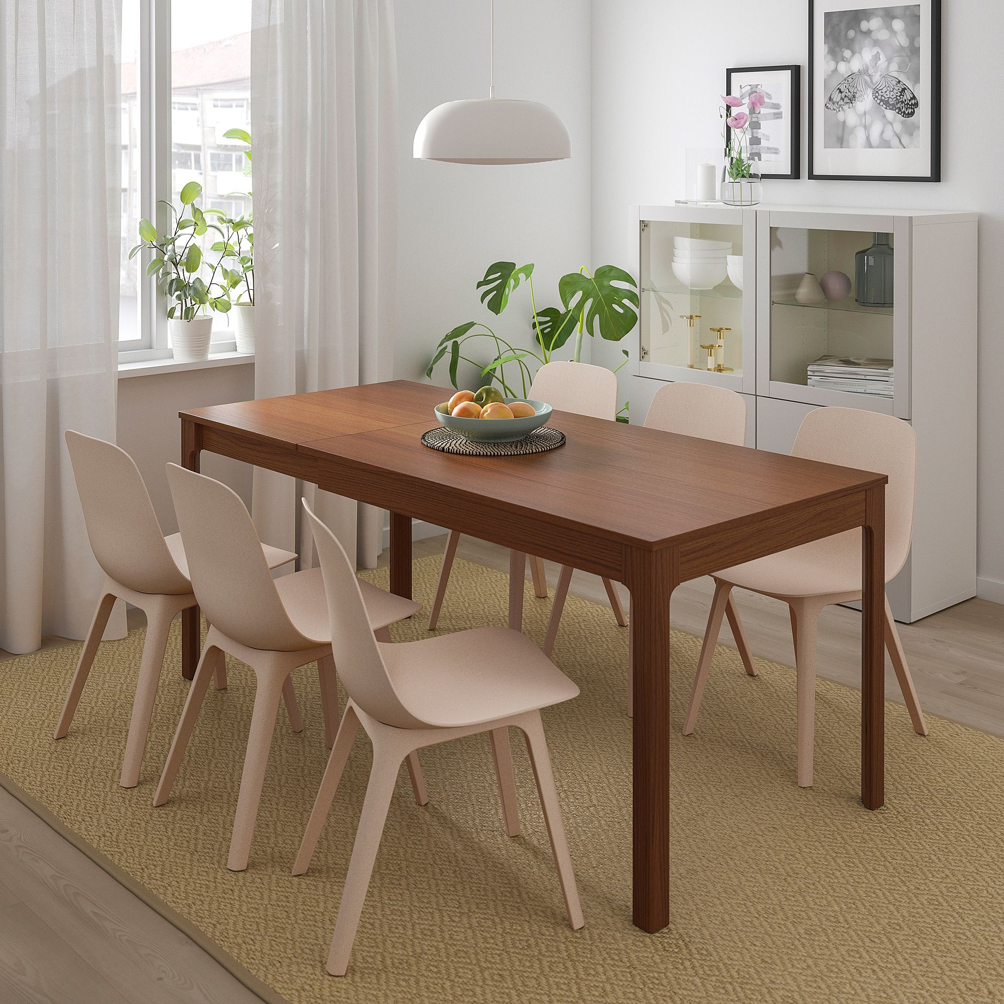 IKEA EKEDALEN / ODGER Brown, White Beige Table and 4