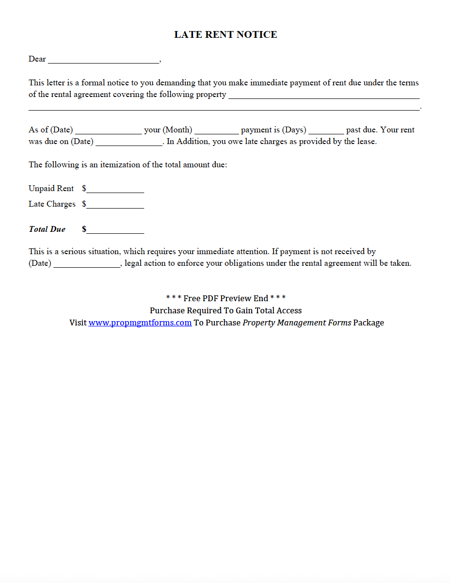 Late Rent Notice Pdf  Property Management Forms    Pdf