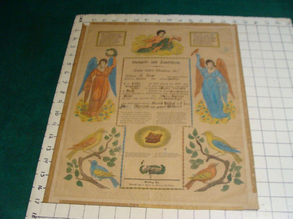 Original 1854 Reading Pa Birth Certificate in German, HAND COLORED - best of birth certificate oakland ca