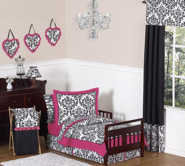 Isabella Pink Black And White Toddler Bedding Set Pinterest