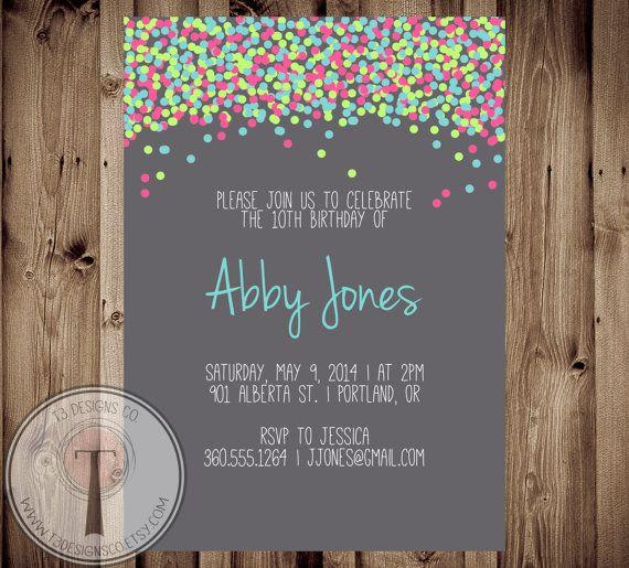 Confetti Birthday Invitation Bright Invite Girls Tween 30th 40th 21st Party
