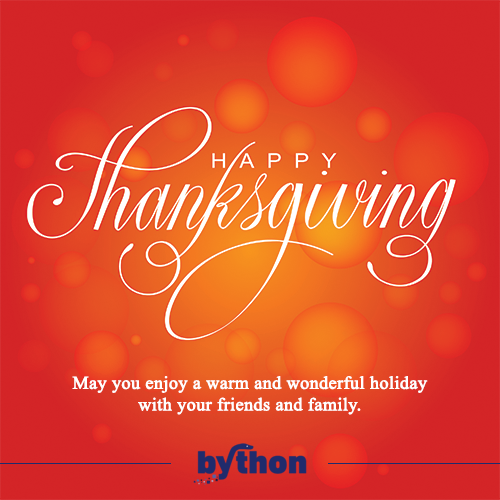 From all of us at BYTHON, HappyThanksgiving! Happy