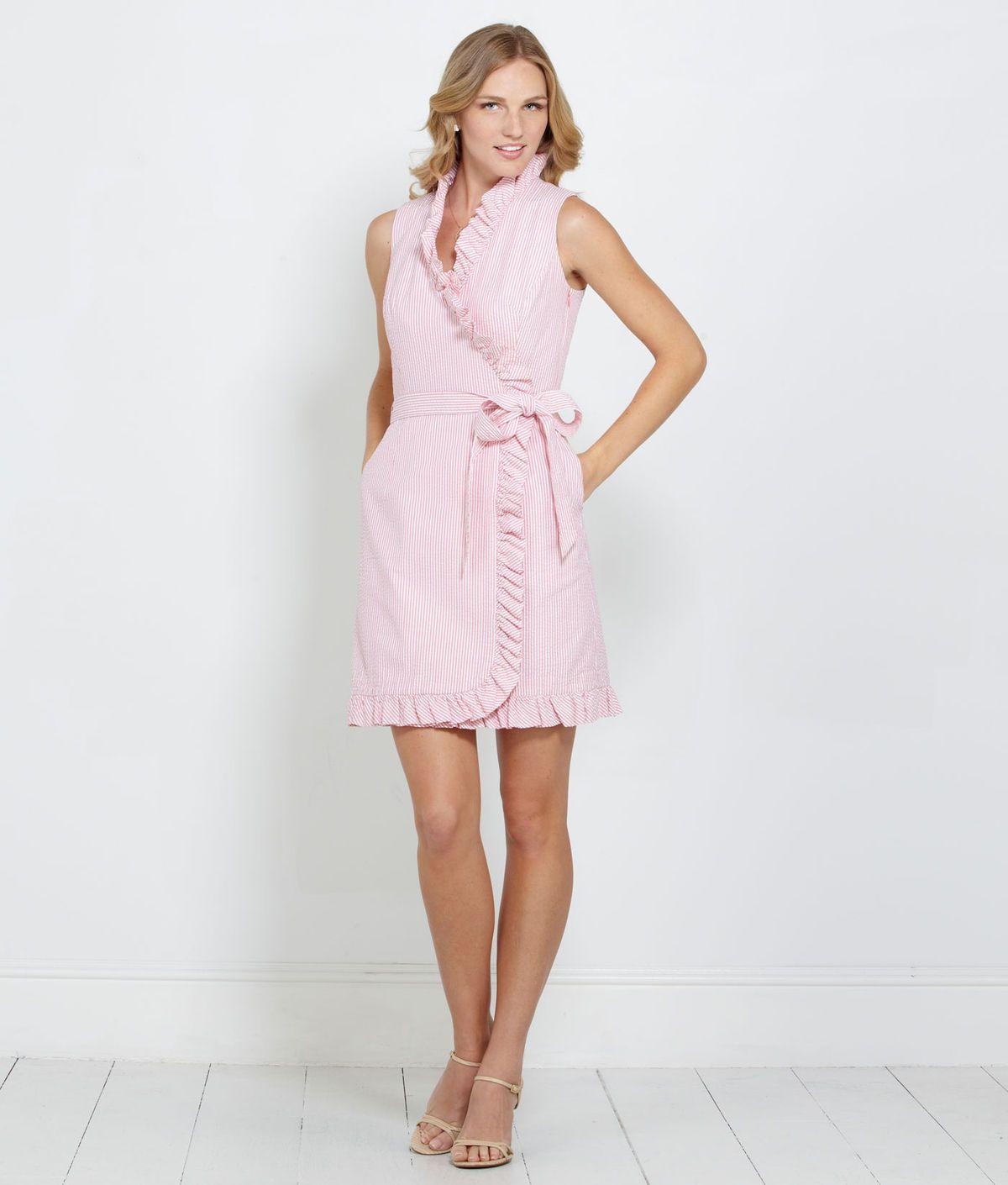 ef639ffd2b Women's Dresses: Seersucker Ruffle Wrap Dress for Women - Vineyard Vines
