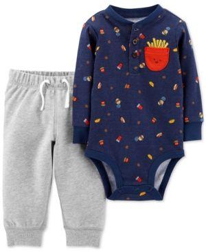 Carter s Baby Boys 2-Pc. Cotton Fries-Print Bodysuit   Jogger Pants Set -  Blue 18 months f35d3cf53