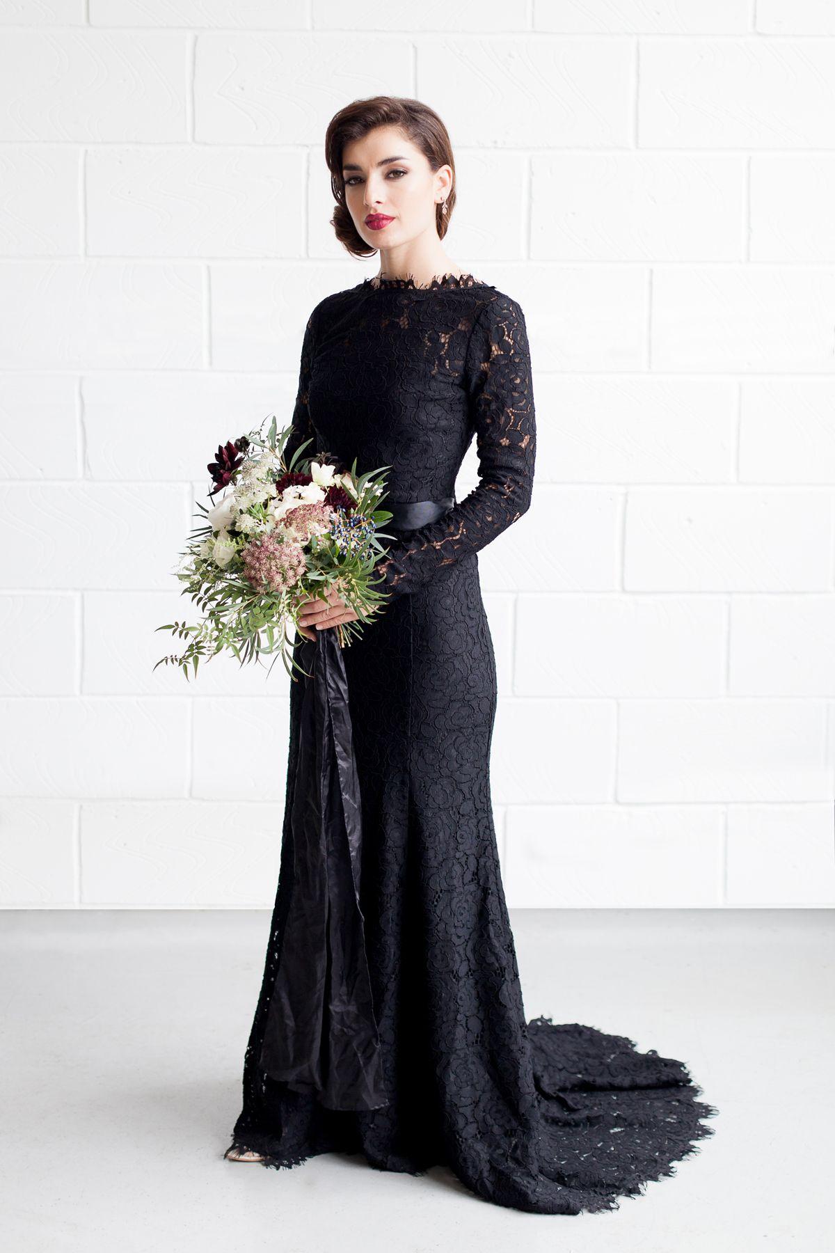Elegant Industrial Styled Wedding The Overwhelmed Bride Wedding Blog Socal Wedding Planner Black Lace Wedding Dress Black Lace Wedding Black Wedding Gowns [ 1800 x 1200 Pixel ]