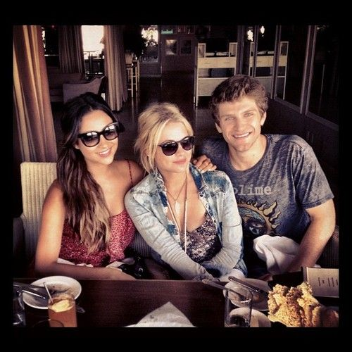 Keegan Allen And Ashley Benson Kissing Shay Mitchell, ...