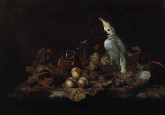 Barend Van Der Meer Dutch B Ca 1659 D Ca 1702 Title Stilleben Von Fruchten Mit Einem Kakadu Painting Art Photo