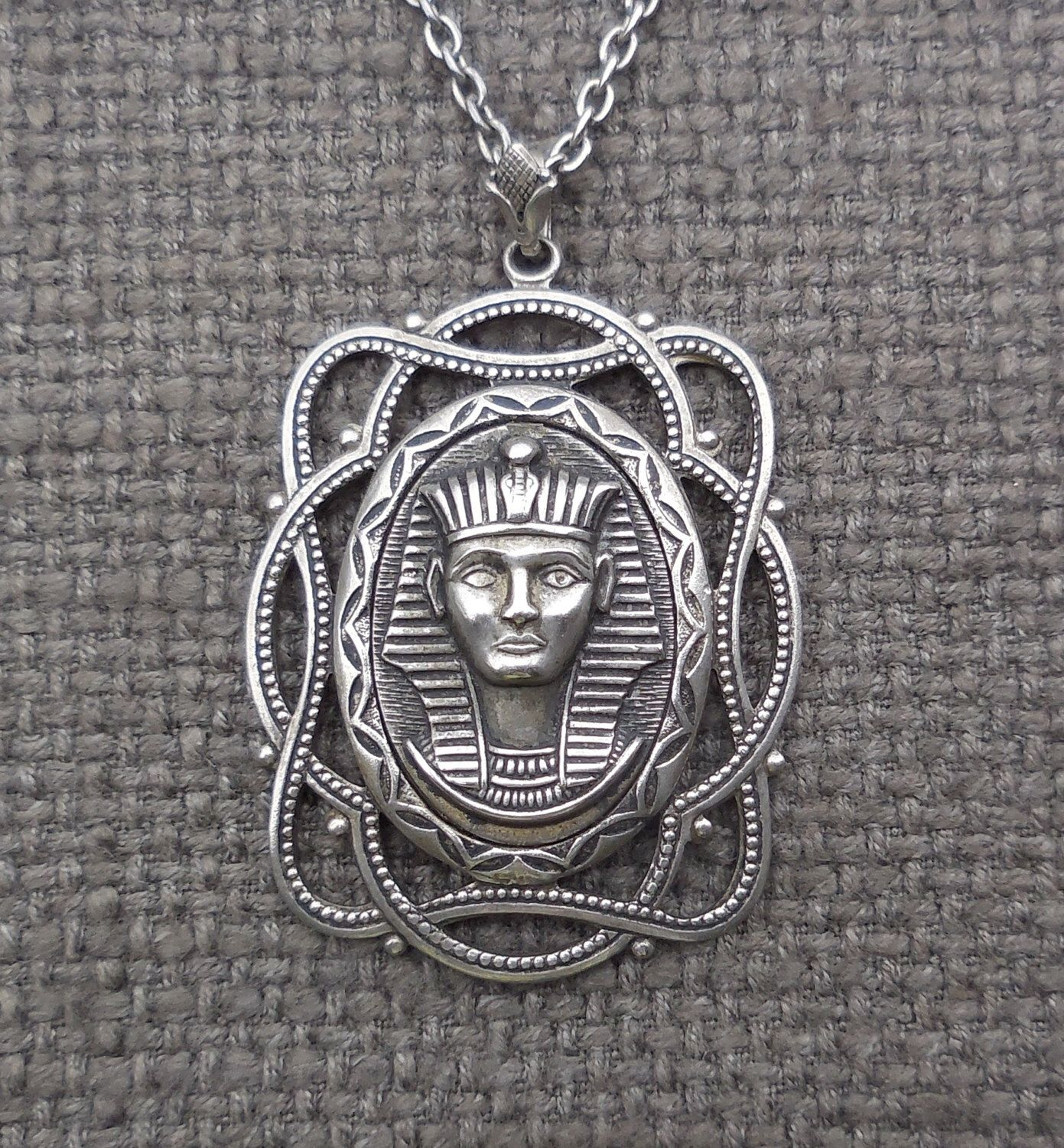 Vintage Sterling Silver Egyptian Pharaoh Large Long Necklace.