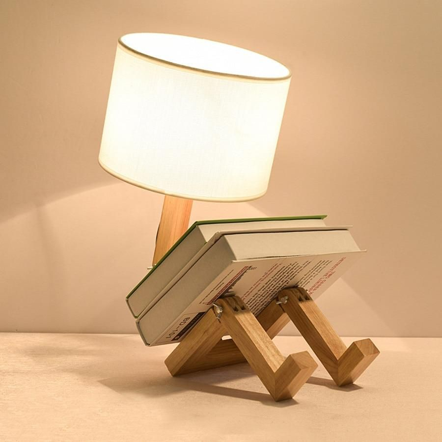 Wooden Robot Lamp In 2020 Wooden Table Lamps Table Lamp Wooden