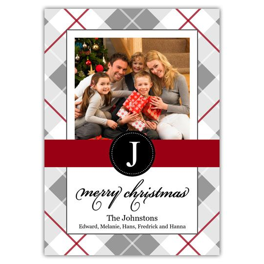 Plaid Monogram Create your own Holiday Christmas cards using Focus